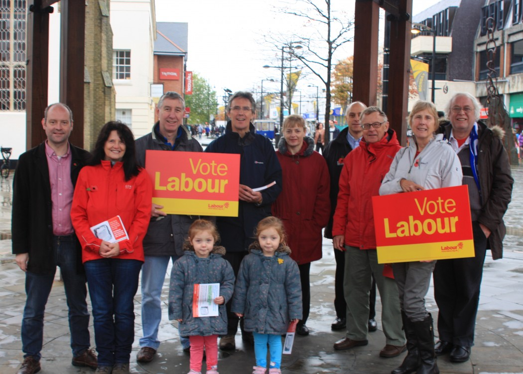Labour Party members campaign in Fareham